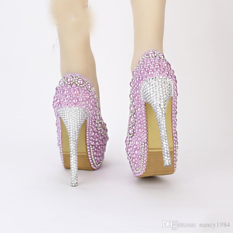 2019 New Handmade Fashion Purple Pearl Wedding Shoes Luxury Rhinestone Stiletto Heel Bridal Dress Shoes Evening Party Prom Pumps
