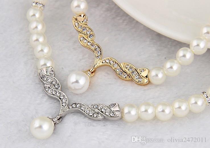Pas cher Prix Perle Bijoux De Mariée Ensembles Crème Faux Strass Or Rose Cristal Diamante Collier De Mariage Et Boucles D'oreilles ensembles pour les femmes dr