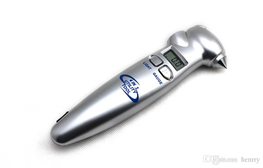 安全ハンマーと非常用ライトナイフが付いている4-In-1高精度多機能液晶デジタルディスプレイタイヤゲージPSIバーKPA
