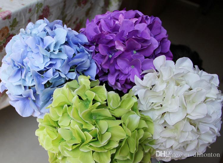 Ipek ortanca çiçek topu decorateive çiçek gerçek dokunmatik yapay çiçekler düğün bahçe pazarı dekorasyon için iyi kalite ücretsiz kargo