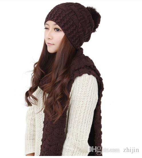 Atacado-Novo Chapéu de Inverno Lenço de Caxemira das Mulheres de Alta Qualidade Moda Malha Chapéu Cachecol Xale Lenços Quentes Frete Grátis