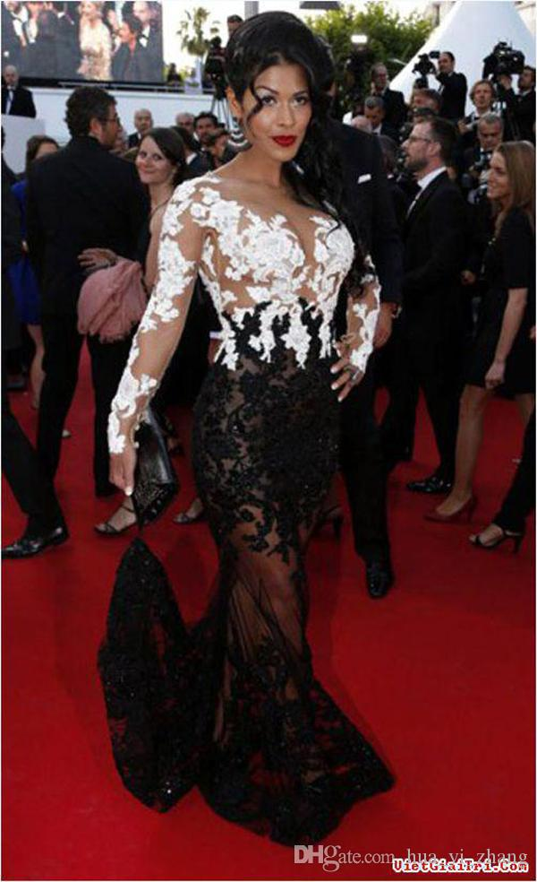 2015 Weiß und Schwarz Celebrity Kleider Ayem Nour Robe Mermaid Formale Abendkleider Bateau Lace Sheer Roter Teppich Kleid Dhyz 01