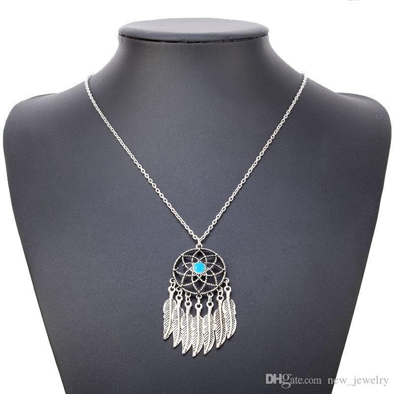 Moda Bohemian vintage etnik tarzı ızgara tüy rüya yakalayıcı takı turkuaz püskül kolye kazak zincir kolye bırakır