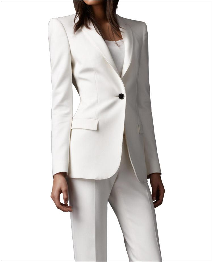 Online Cheap 2015 Ivory Women Pant Suits Shawl Lapel Long Sleeve ...