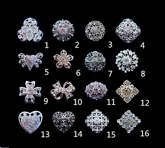 Mix Design Spumante argento placcato chiaro strass di cristallo di piccole dimensioni spille e perni bouquet di gioielli
