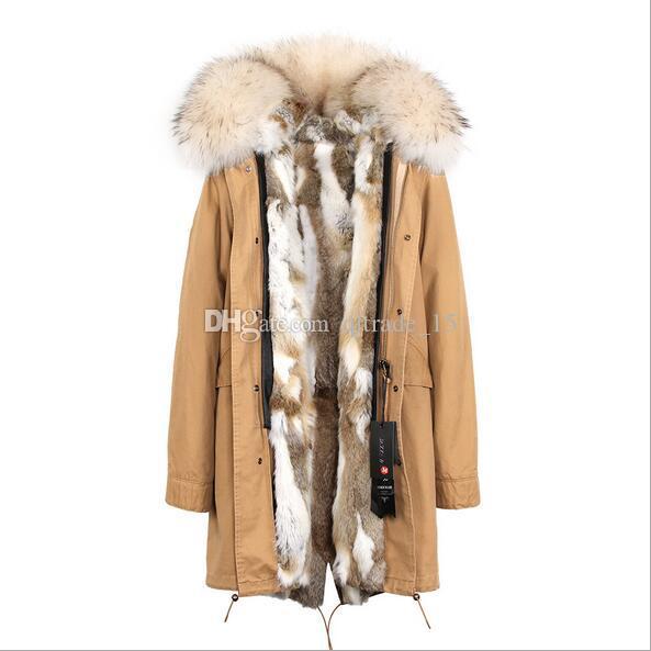 дамы снег пальто Jazzevar Марка коричневый Енот меховой воротник серый белый кролик мех лайнер армия зеленый холст длинная парка