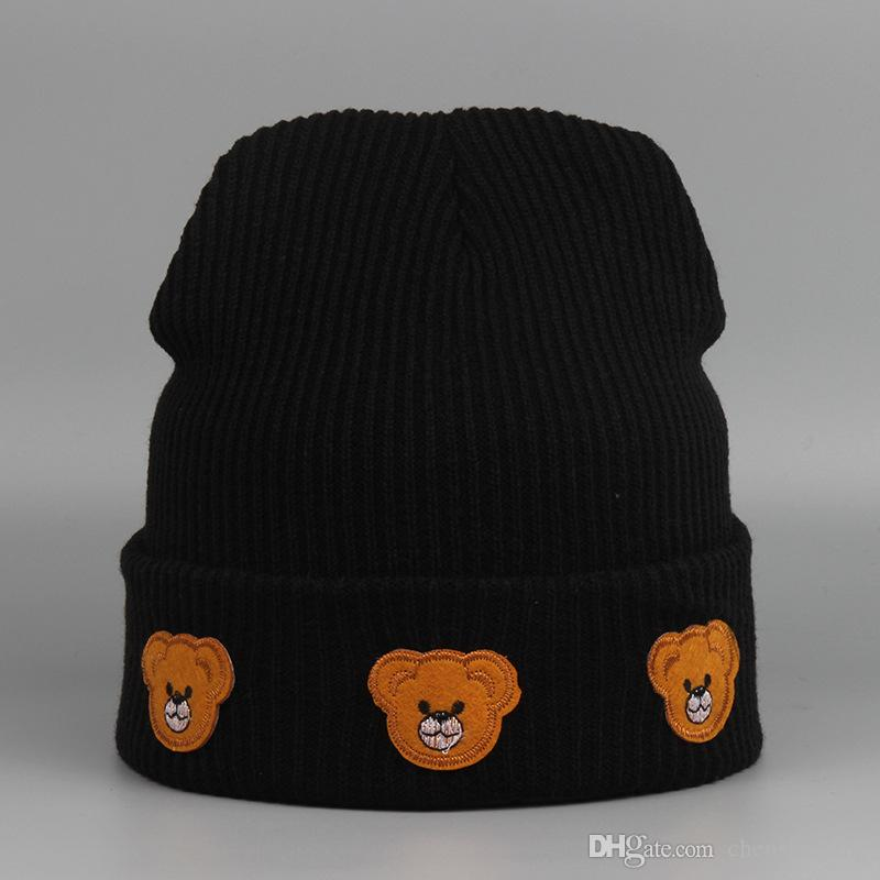 Little Bear Beanie Hats Fashion Cartoon Beanies Winter Hat Men Women Cap Knitting Pattern Skull Caps