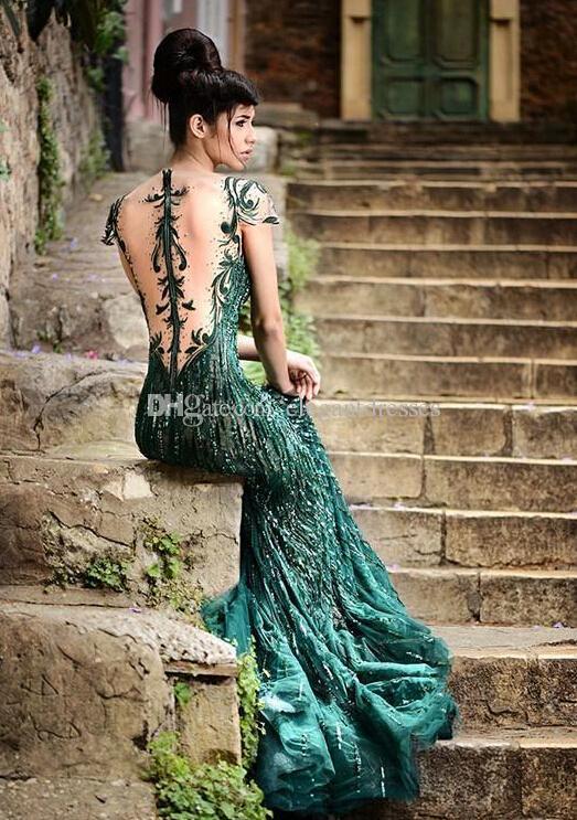 2021 خمر مذهل الترتر فساتين السهرة مع شير الرقبة الأخضر يزين كاب كم طويل حورية البحر أنيقة حفلة موسيقية العباءات للنساء