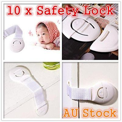Safety Lock 10 x Child Adhesive Kids Baby Cute Safety Lock For Door Drawers Cupboard Cabinet