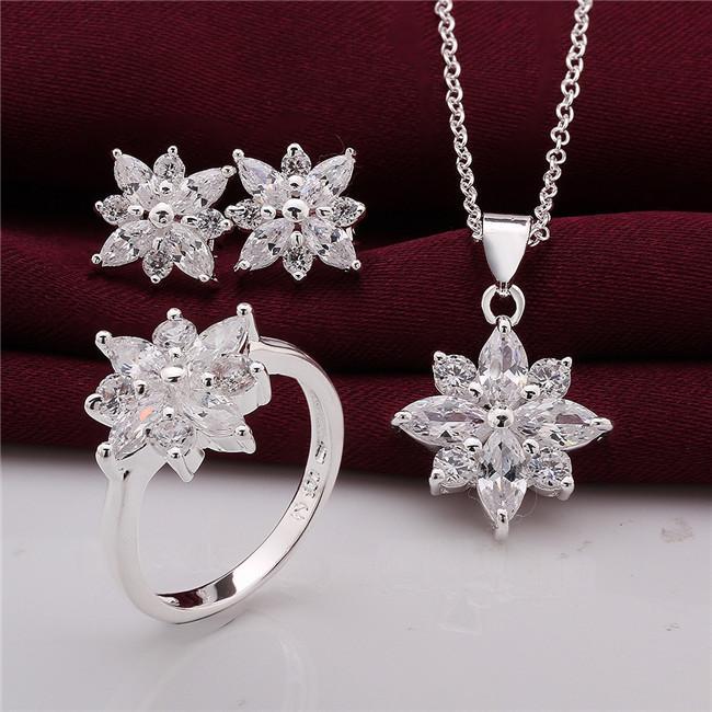 925 Sterling Silver Jewelry Set bela flor pingente de colar brincos anéis com Zircon Natal enviar sua esposa / namorada presente
