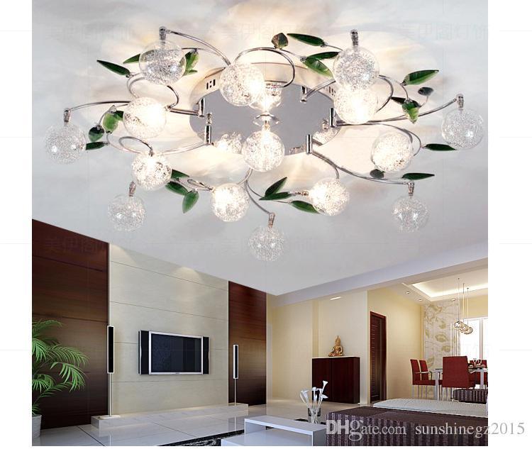 2019 Led Ceiling Light Modern Green Leaves Light Crystal