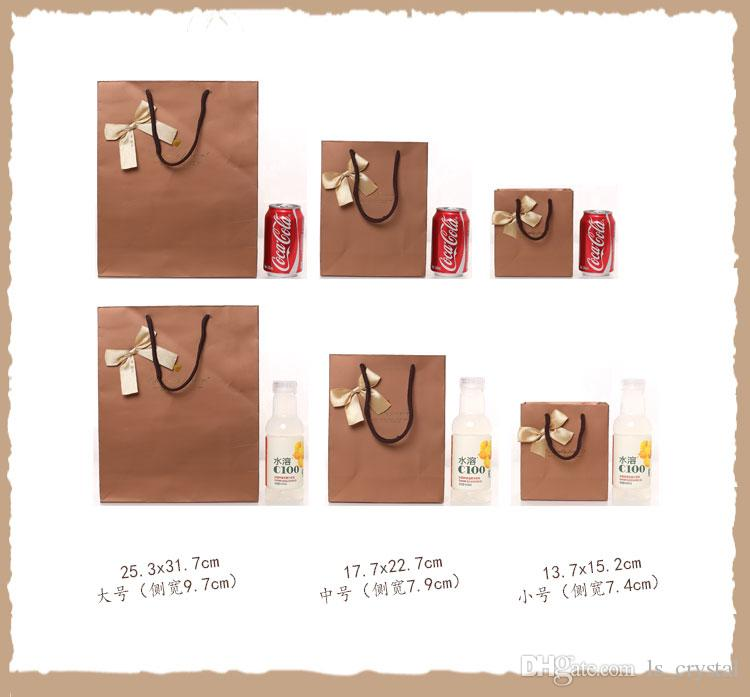 13*15*7cm Noble Color Bowknot Paper Gift Bag Business Gift Favors Wrapping Bag Festive Gift Package Party Supplies WS084