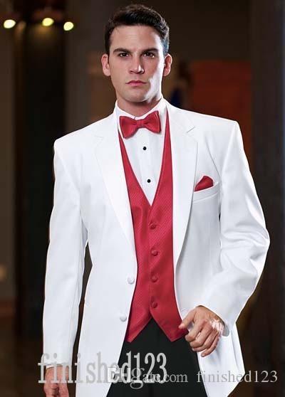 유행 2 버튼 하얀 신랑 턱시도 노치 옷깃 Groomsmen 최고의 남자 웨딩 댄스 파티 정장 자켓 + 바지 + 조끼 + 넥타이 G5178