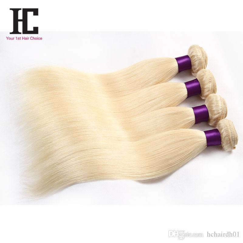 브라질 처녀 머리 4 번들 # 613 금발 실크 스트레이트 머리 처녀 브라질 머리 금발 레이스 폐쇄 번들