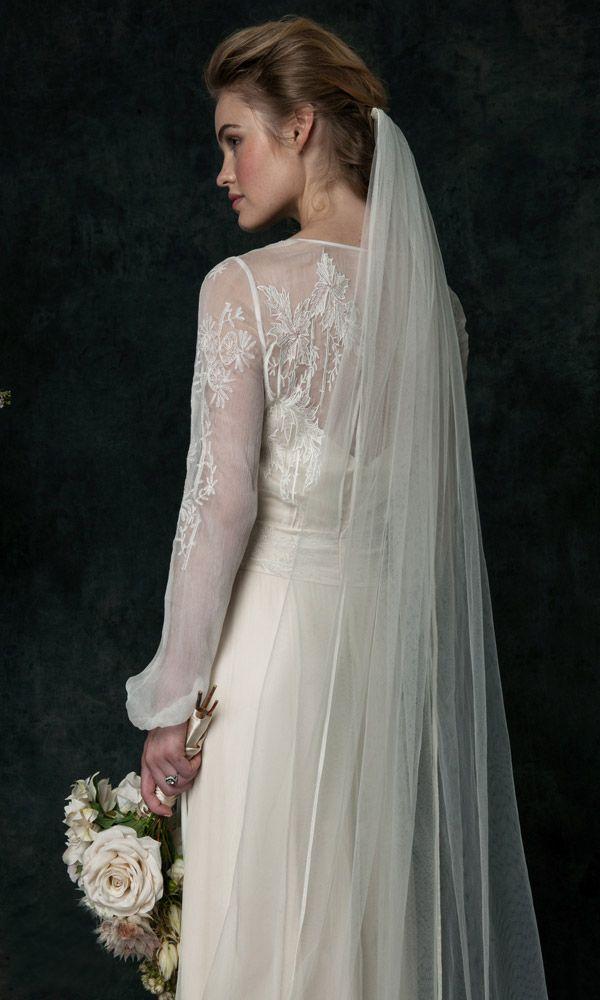 Vintage Wedding Gowns 2016 Hand Embroidered Silk Chiffon Long Sleeves Wedding Dresses Sweep Train Hollow Back Sheer Wedding Dresses Custom