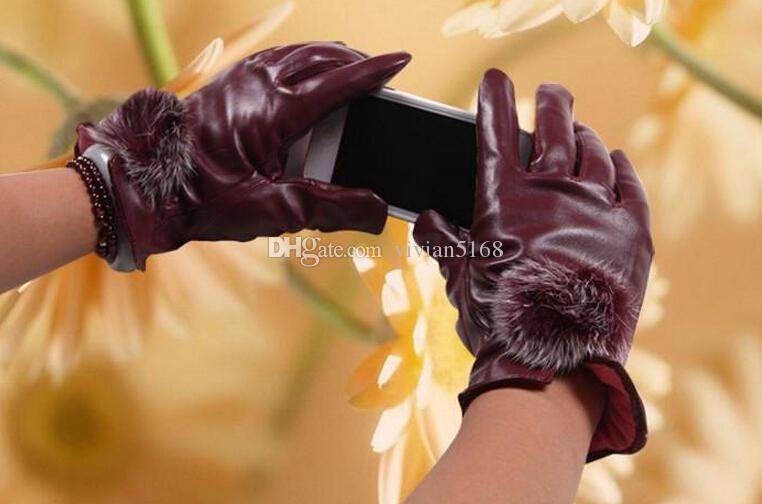 Moda Piękne futro Ball Skórzane rękawiczki do zimowych Rękawice Marka Marka Luvas Kobiety Rękawiczki Rękawice Jazda Motocykl Rękawice Skórzane 5 kolorów
