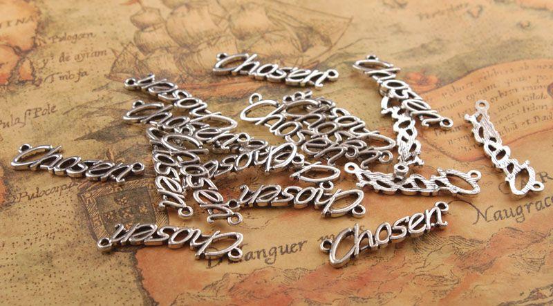 20 stks mode antiqued zilver metalen woord gekozen charmes # 92263