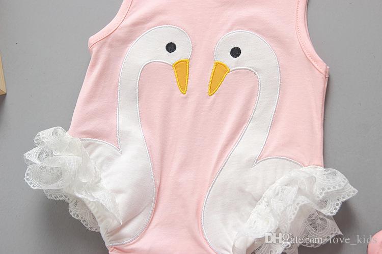 Recém-nascidos bebês romper cisne bebê bonito de uma peça roupas de renda infantil macacões crianças criança preto branco roupas de verão