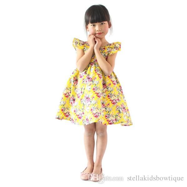 ELBISE kız giyim pembe çiçek kız plaj elbise sevimli bebek yaz backless halter elbise çocuklar vintage çiçek elbiseler