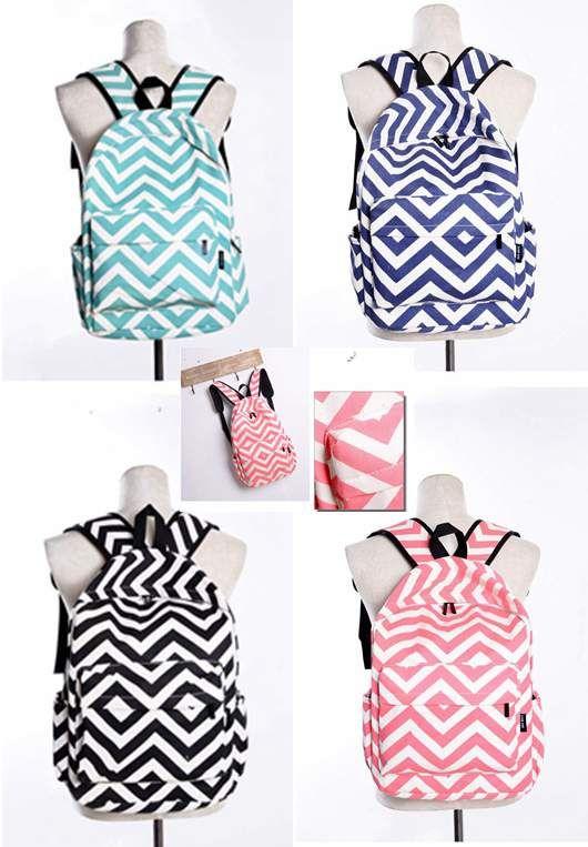 4 kleuren streep chevron school rugzak Bookbag 16