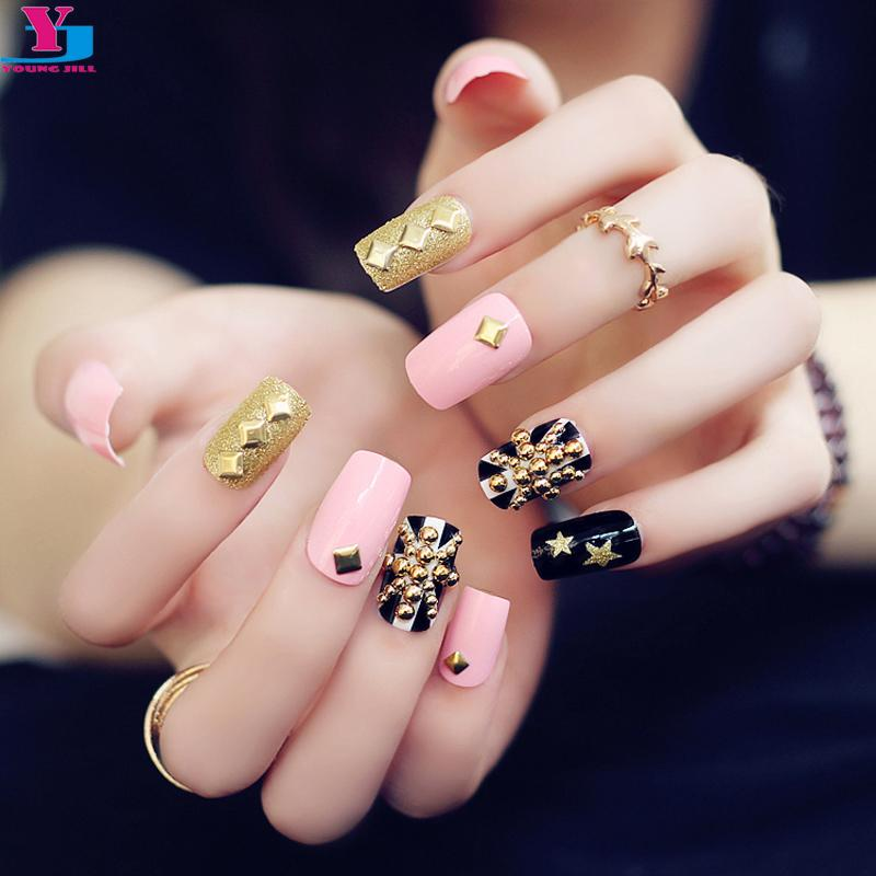 Wholesale Fashion Pink Flag Glitter Gold Metallic False Nails 3d Rivet Artificial Long Nail Art Fake Tips Sticker With Glue Design