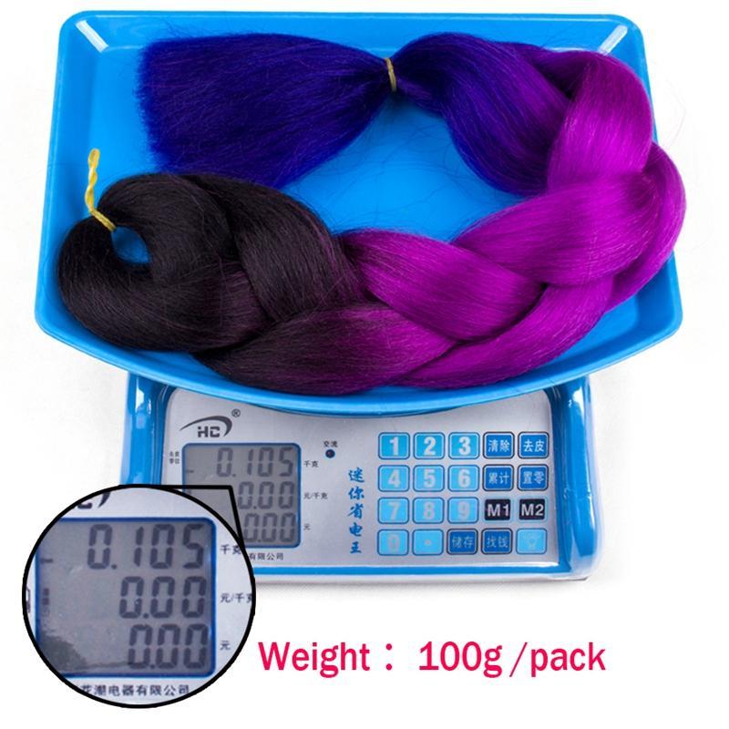 Cinza Jumbo Trança Extensão Do Cabelo Sintético Kanekalon Cabelo 100g / pc Roxo / Azul / Loira / Preto Ombre Tranças De Crochê cabelo