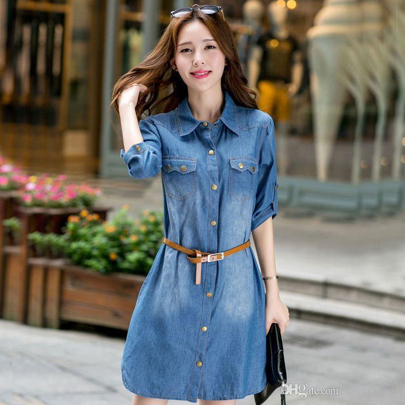 7579d67a0de 5XL Plus Size Women Clothing Long Sleeve Denim Dress Autumn Winter Casual  Dresses Jean Shirt Dress With Belt Cheap Clothes China Sexy Dress Denim  Dress From ...