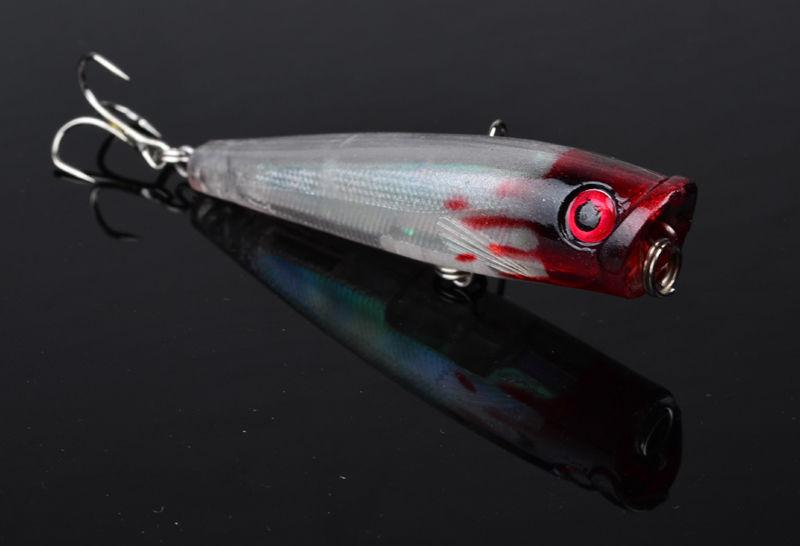 Topwater flutuante Sea Crankbait isca Poper ganchos de pesca isca 6.5 cm 6.6g peixinho de pesca PS pintado plástico baitfish