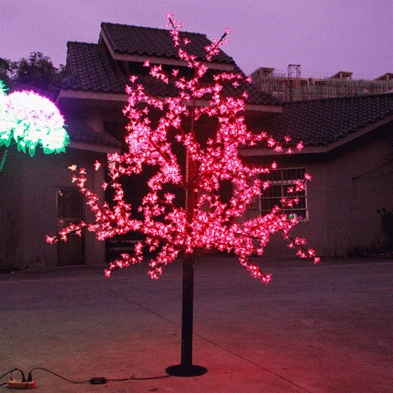LED Artificial Cherry Blossom Tree Light Christmas Light LED Bulbs 2m Height 110/220VAC Rainproof Outdoor Use