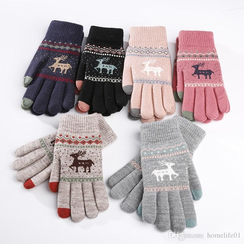c9c8caefc0b6 2019 Cute Knitted Deer Touch Screen Gloves For Women Christmas Gift ...