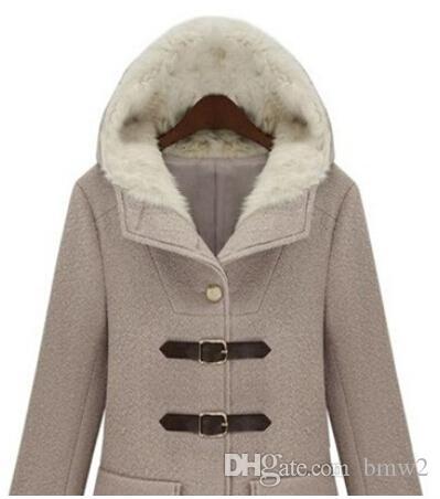 Горячая распродажа новый дизайн зимнее пальто женщины европейский стиль мода чистый цвет женщины шерстяное пальто с капюшоном женские пальто WG266