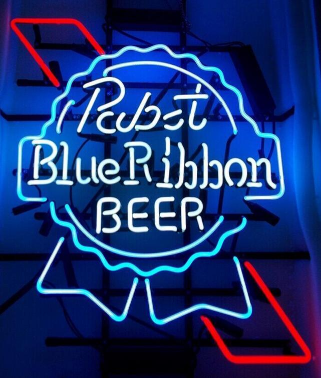 NEW PABST BLUE RIBBON LAGER ALE REAL GLASS NEON BEER BAR