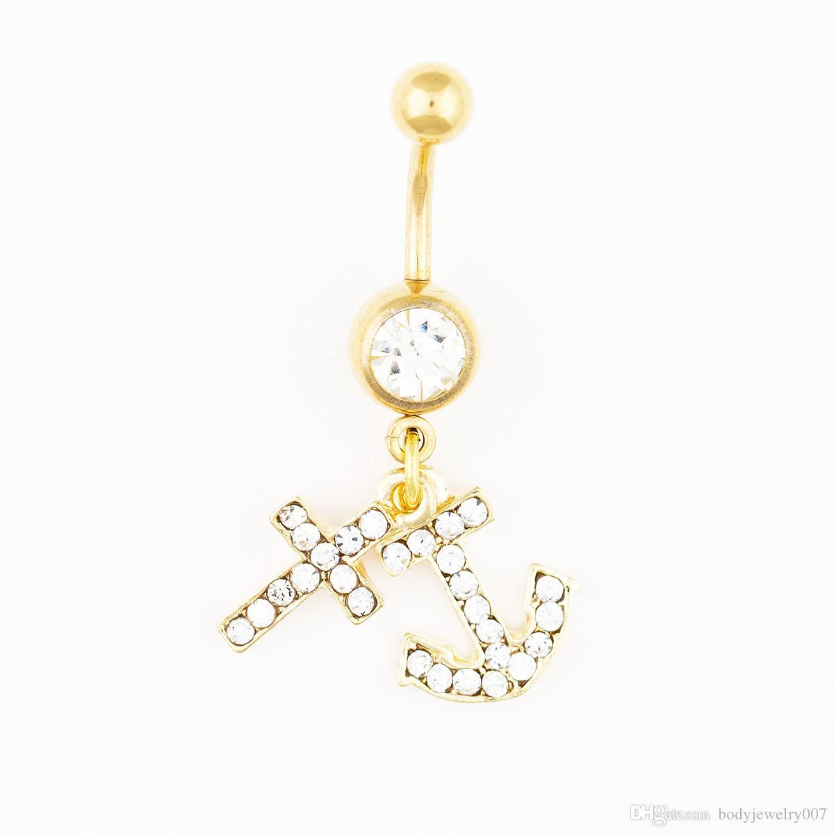 D0555-1 3 couleurs bijoux de corps de style Belle Nombril anneau de ventre mélange goutte de pierre couleurs expédition prix usine