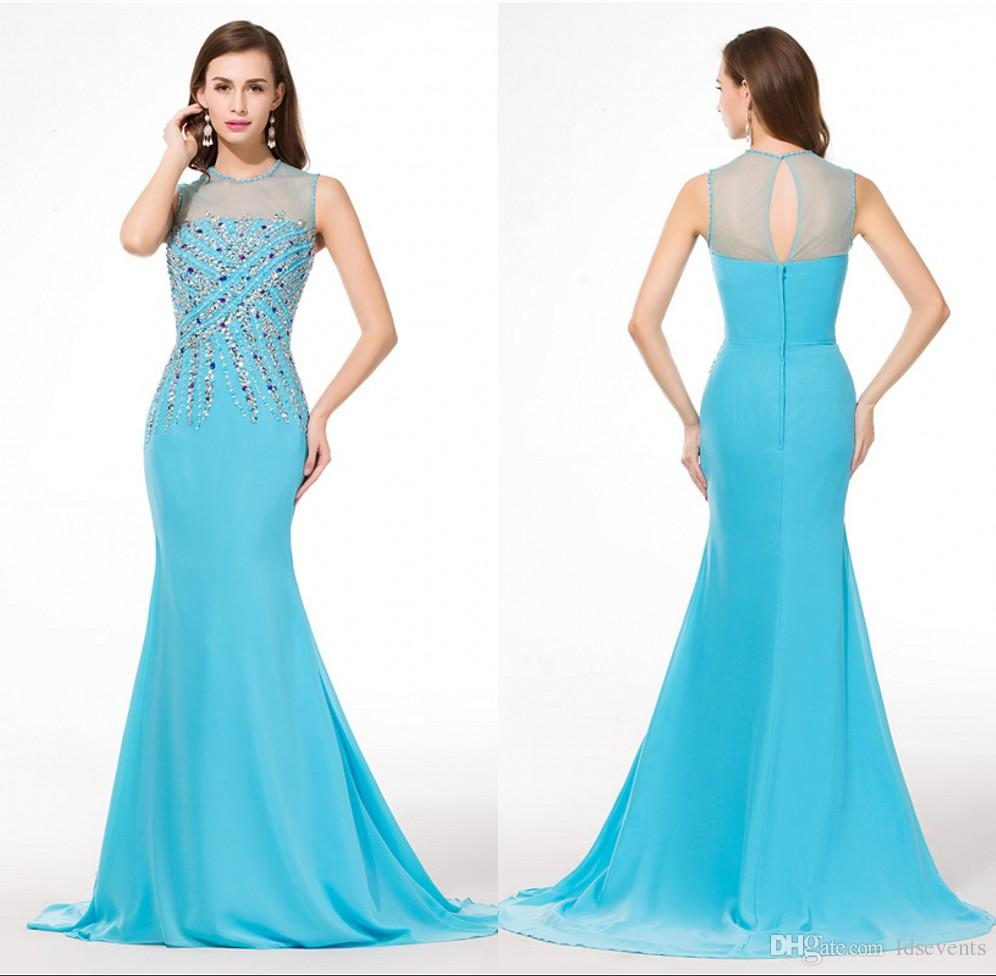 Mermaid Chiffon Beads Sky Blue Evening Dresses With Sweep Train ...