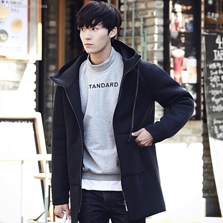 Fall-Korean Fashion Trench Coat Men Brand Designer Element ...