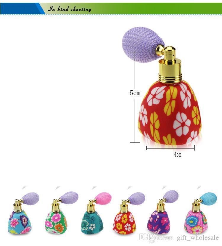 Nouveau 15 ML Fleur Bouteille De Parfum Polymère Argile Gaz Sac Parfum Bouteille Vaporisateur Atomiseur En Verre Huile Essentielle Bouteille Flacons Beauté Accessoires