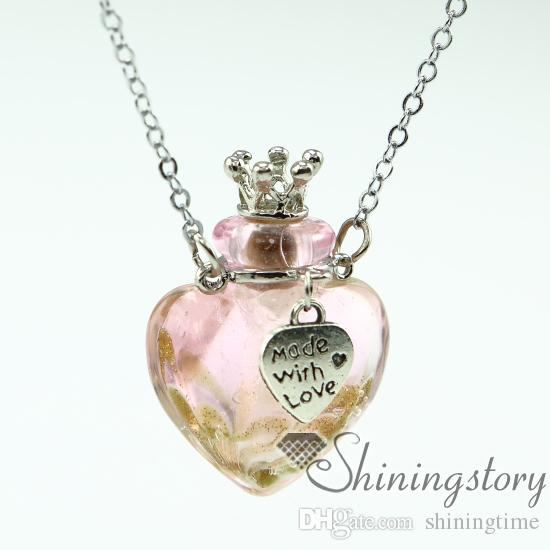 heart aromatherapy jewelry scents oil diffusing necklace small perfume bottle pendant necklace diffusers small glass bottles pendant necklac