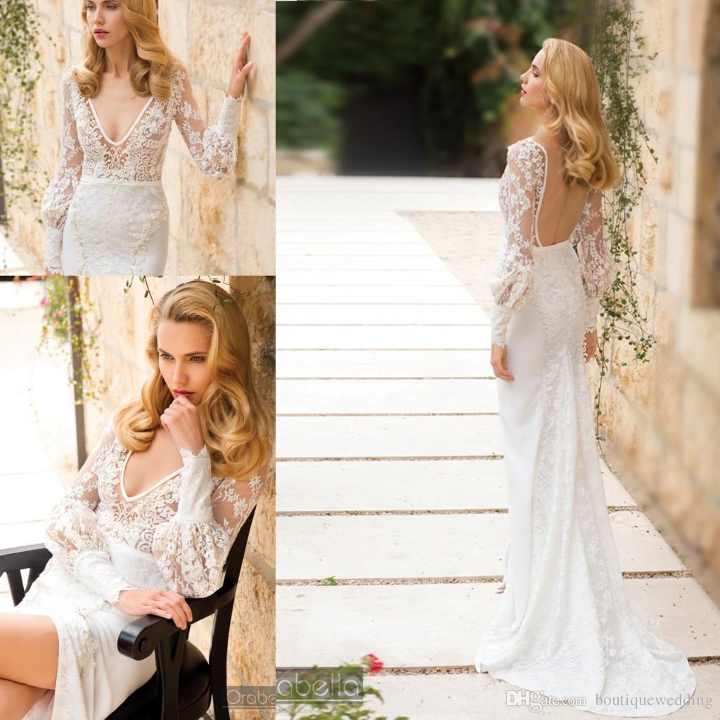 Plus Size 2017 Orabella Lace Beach Boho Wedding Dresses Deep V