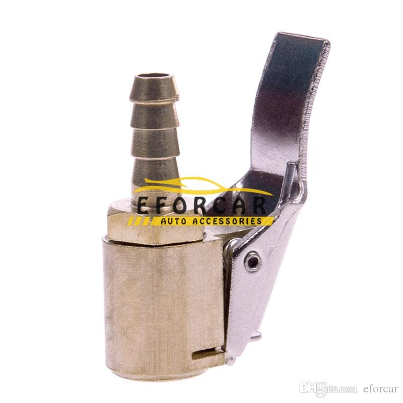 "New 6mm1/4"" Brass Tire Valve Air Chuck Connector Car Airline Open Flow Inflator Clip"