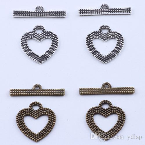 2016 мода ретро 2 части любовь пряжки Шарм серебро / медь DIY ювелирные изделия кулон fit ожерелье или браслеты 300 шт. / лот # 1846y