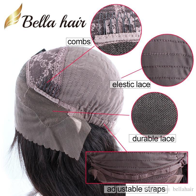 Human Hair Wigs Brazilian Virgin Hair Lace Front Wigs For Black Women Medium Cap Straight Bob Middle Part Natural Color Bellahair