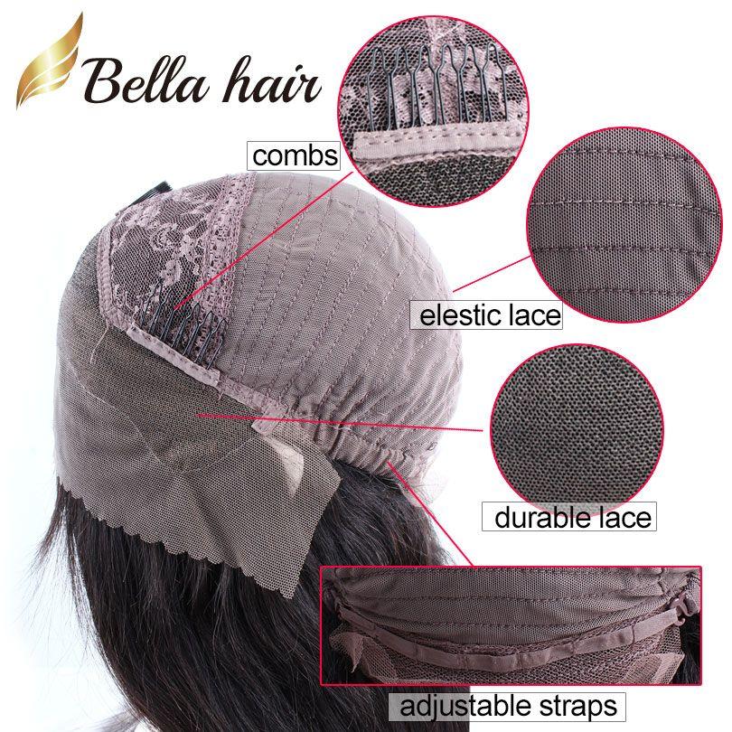 Perruques frontales pleines de dentelle pour femmes noires 150% densité vierge vierge cheveux humains tisse droite Bob Moyen-Cap Middle Pièce Bob Bellahair