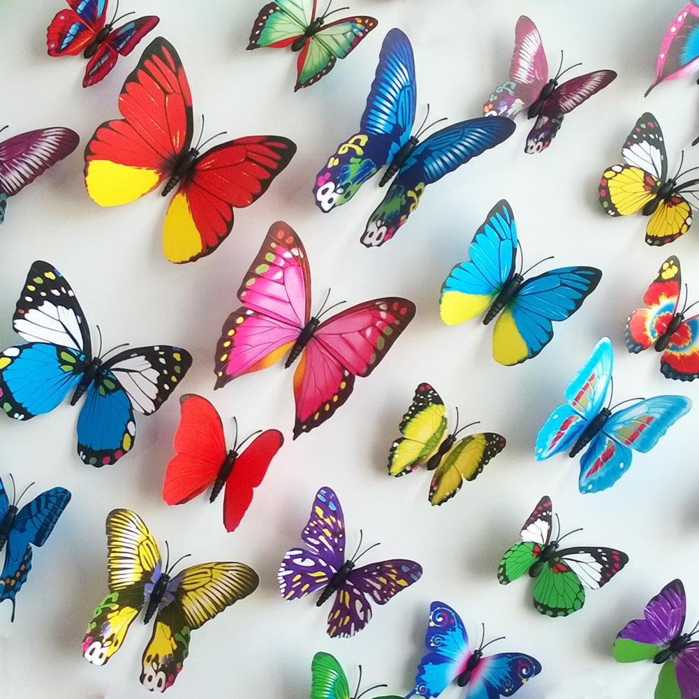 12pcs/set 5 colors wall stickers 3D PVC butterfly Wall stickers beauty your living room & bedroom Christmas Wall Art New