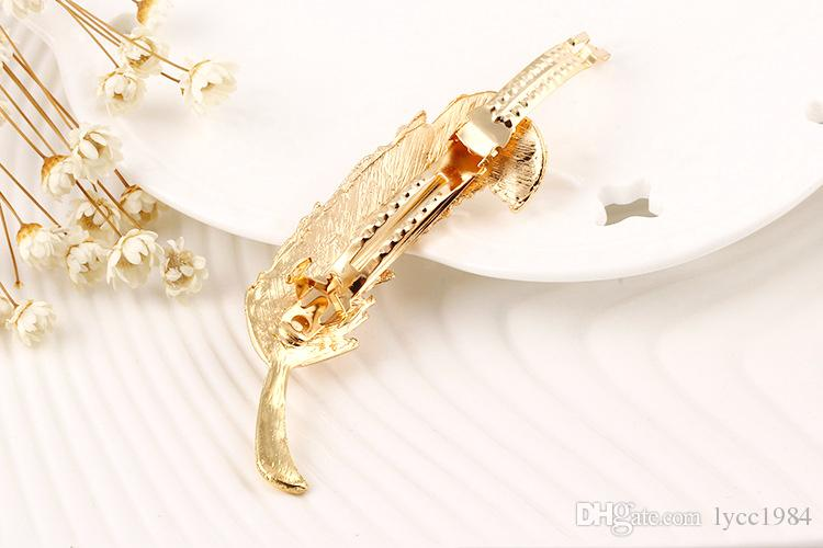 New Brand Vintage Feather Hair Clip Antique Gold Hair Clasp Jewelry Hairgrips for Women Head wear Hair Accessories