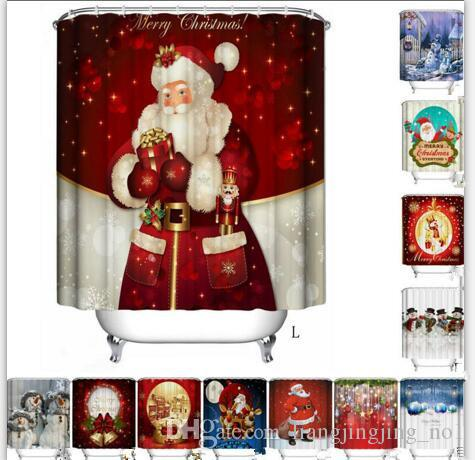Christmas Shower Curtain polyester Waterproof Bathroom Santa Digital Printing Shower Curtains Decor for Home 30 design KKA2393