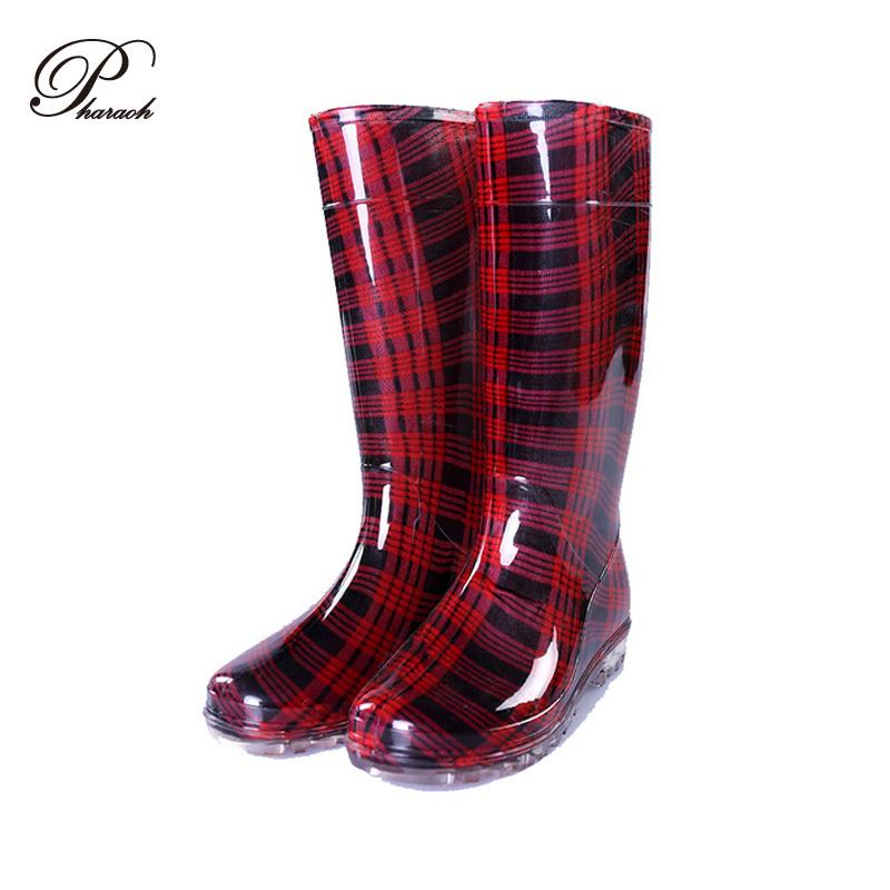 Fashion Gingham Plastic Women Rain Boots Knee High Rainboots Woman ...