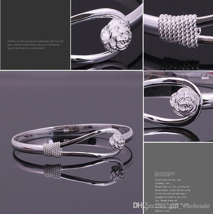 925 sterling silver rose cuff bracelet fashion bangle for woman 2015 best sell