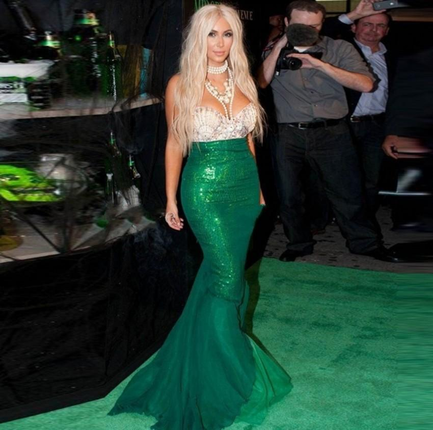 2016 Green Mermaid Evening Dresses Kim Kardashian Dress Lace Floor Length Beaded Rhinestones Celebrity Dresses Evening Gowns