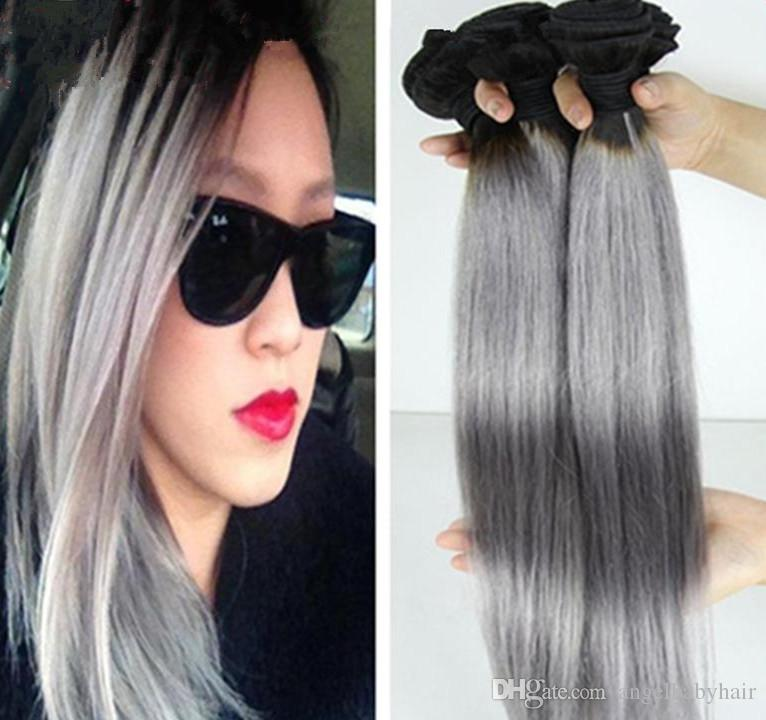 New Ombre Brazilian Hair Straight Two Tone Silver Ombre Grey Hair