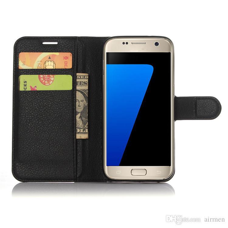Para la cubierta del caso de Samsung S7 Cubierta de cuero de lujo de la caja de la carpeta de la PU Tirón del teléfono del sostenedor de tarjeta del tirón para la caja del borde de la galaxia s7 de Samsung